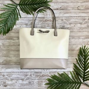 Kate Spade White & Taupe Bow Tote